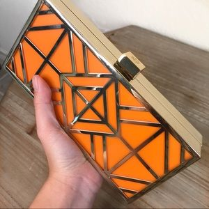 NWT Tory Burch Frete gold orange clutch